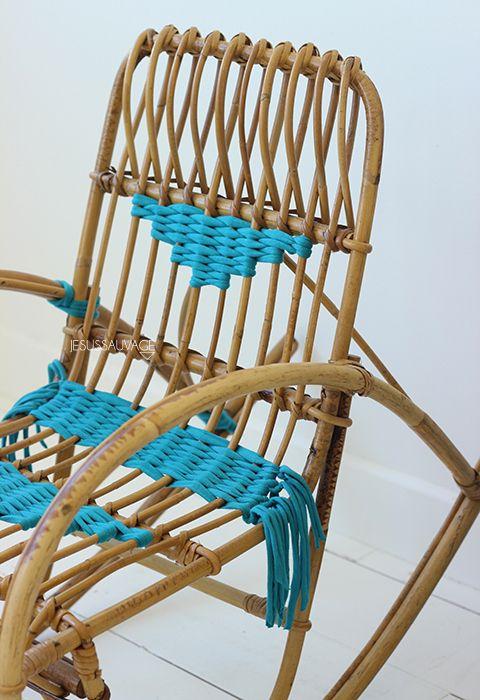 Diy customiser un fauteuil en rotin en tissant du - Peindre un fauteuil en rotin ...