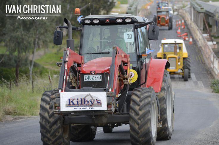 2014 Tractor Trek - The tractors crossing the Gooloogong bridge - Ivan Christian Photography http://ivanchristianphotography.com/