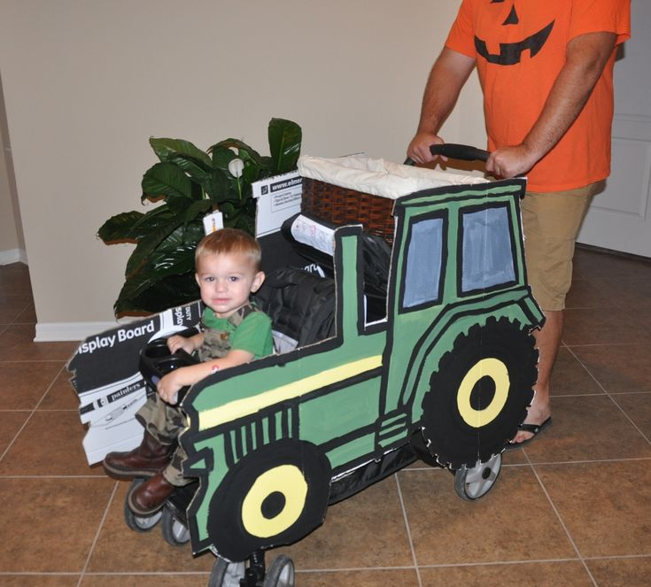 John Deere Cardboard Tractors Attached To Stroller For