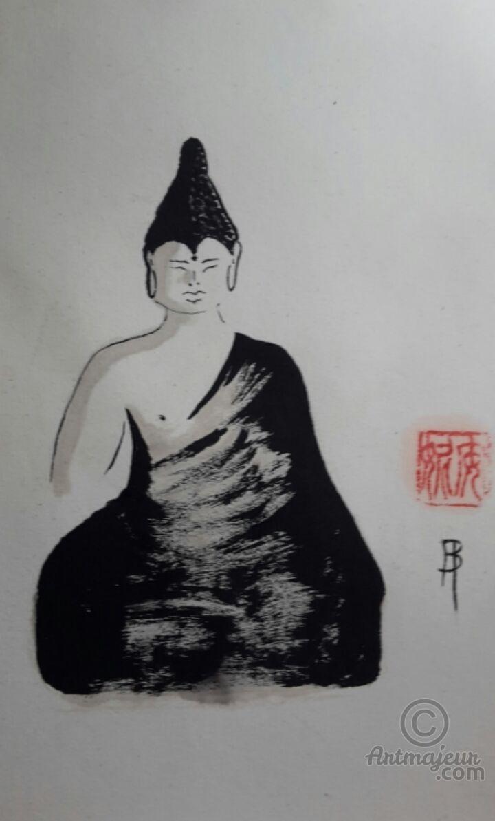 Siddhartha Gautama - Peinture sumi-e  24x32 cm ©2016 par Anne Bonningue -                                                                                    Expressionnisme, Papier, Asie, Cultures du monde, Spiritualité, Sumi-e, encre de chine, Anne Bonningue, siddhartha Gautama, bouddhisme, bouddha, zen