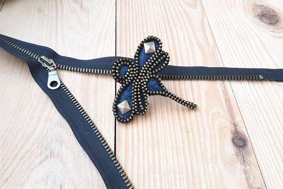 Dragonfly blu brooch Bug brooch Woman art for denim Denim