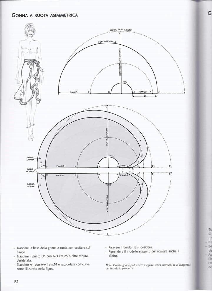Gonna a ruota asimmetrica. Circle skirt.