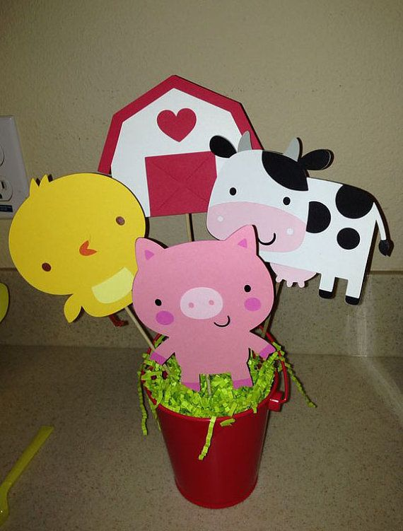 4 Piece Farm/Animal Themed Centerpiece by ColorfulParties on Etsy, $7.50
