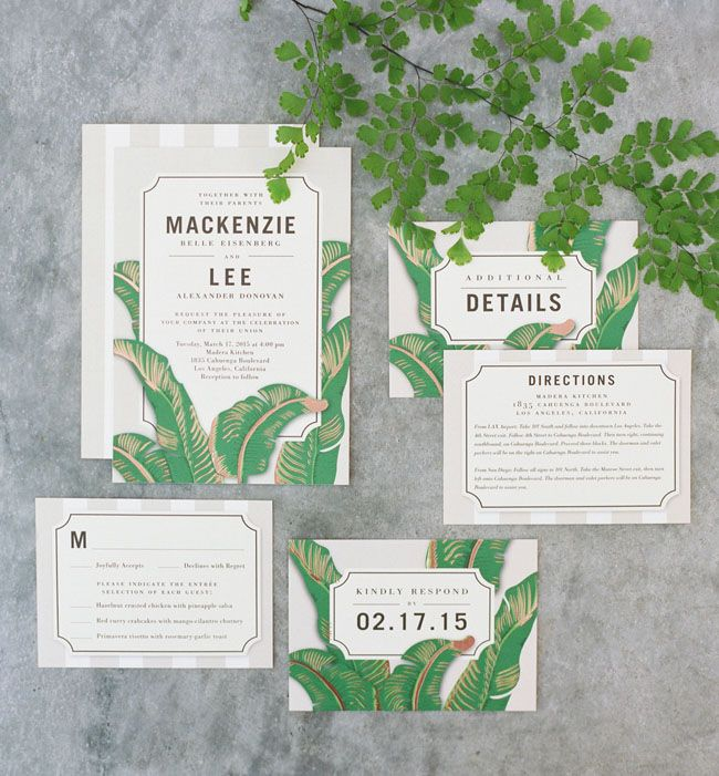 Lush green wedding invitation suite
