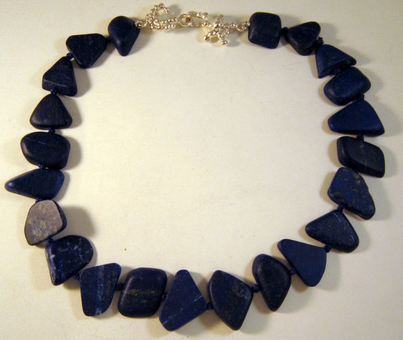 Lapis lazuli necklace with silver clasp by kochiokada on Etsy, $340.00