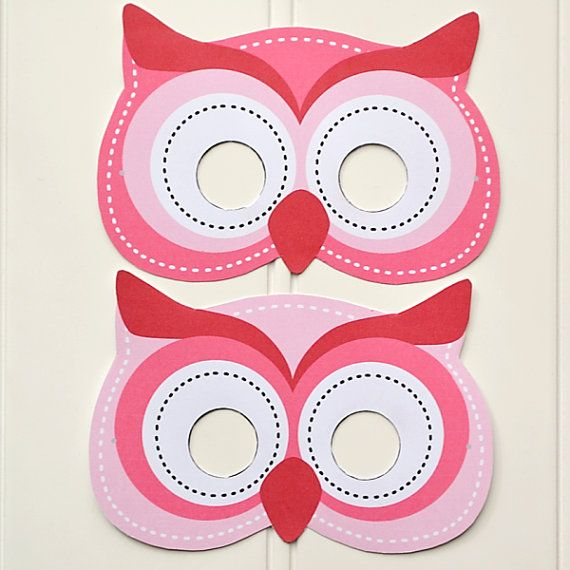 diy printable pink owl masks instant download by. Black Bedroom Furniture Sets. Home Design Ideas