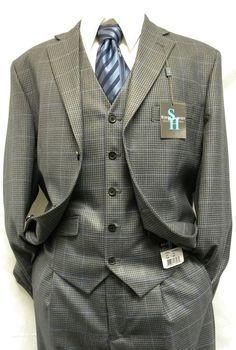 Steve Harvey Suits  3 Piece Grey Mini Check 1231 Size 48L