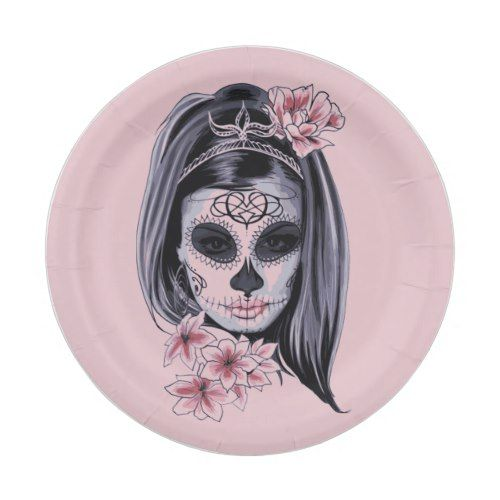 Woman skeleton mask paper plate - halloween decor diy cyo personalize unique party