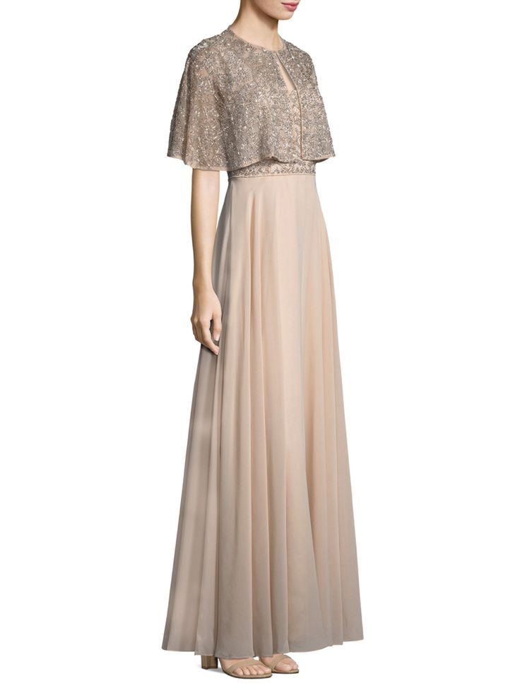 Aidan Mattox Beaded A-Line Gown and Cape Set