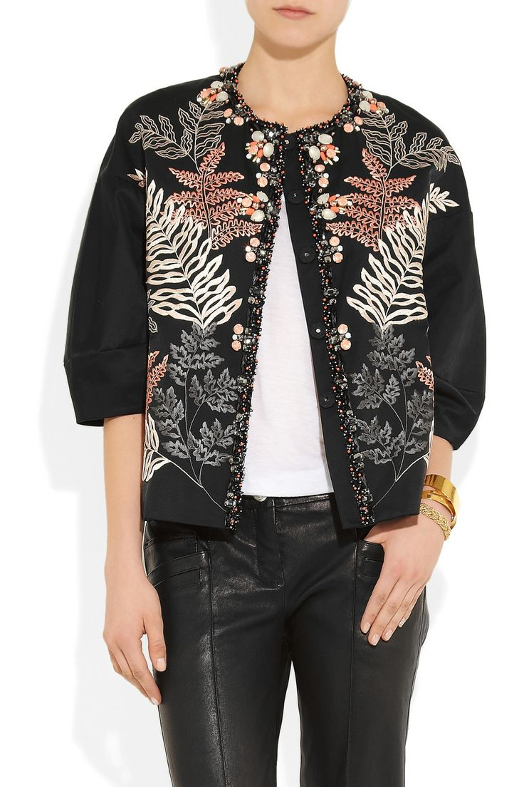 Biyan|Katrina embellished embroidered taffeta jacket