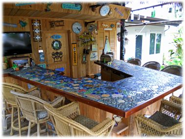 30 best images about tiki mosaics on pinterest ceramics for Mosaic tile bar top