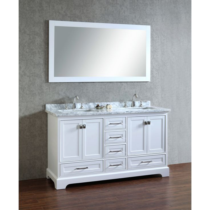 Stufurhome White 60 Inch Double Sink Bathroom Vanity Set