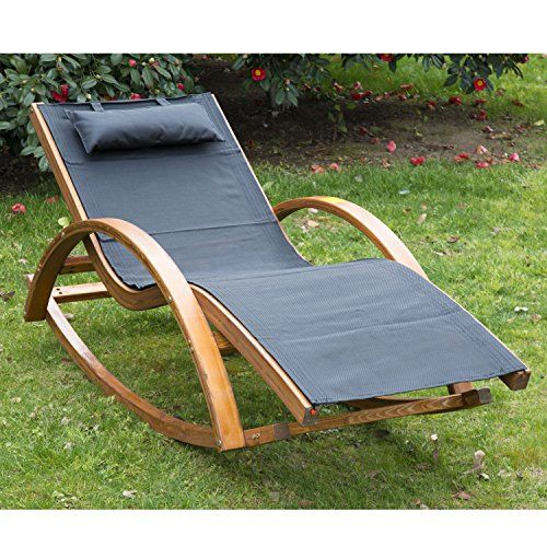 Outsunny Outdoor Garden Patio Pool Rocking Chair Sun Lounger Bed Recliner Rocker Wooden Frame Textilene Fabric w/ Pillow