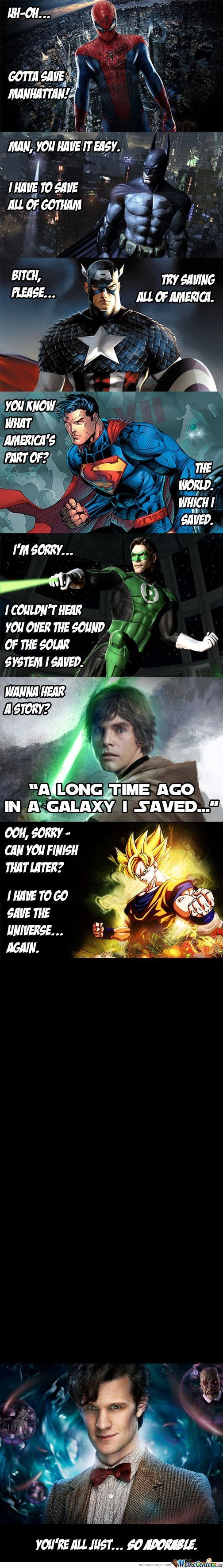 Actually green lantern protects more area in space than Jedi. And doctor who saves timelines only on earth so technically he would be after super man. But then again technically he protects the same amount as green lantern because there are infinite amounts of timelines. (if I said anything about doctor who that's incorrect it is because the show was too boring so I never bothered watching it.)
