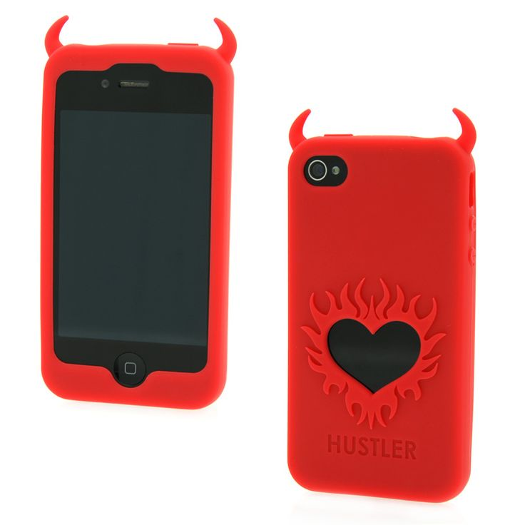 iPhone 4 and 4S silicone phone case. The case has horns at the top and a heart on the back
