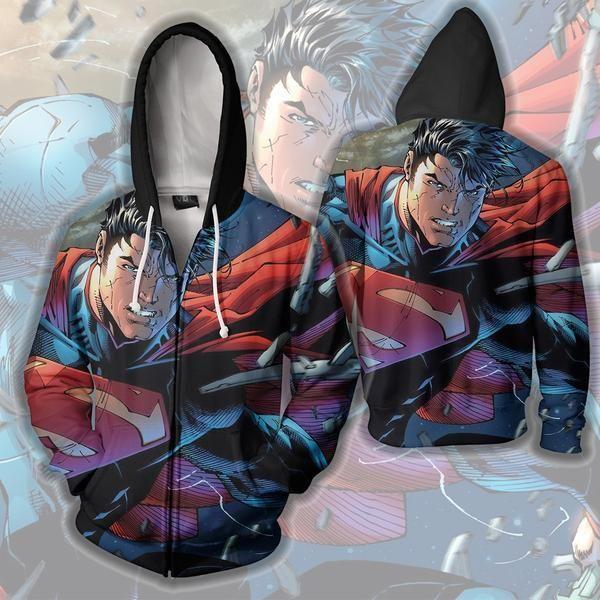 SUPERMAN ZIP UP HOODIE - SUPERMAN 3D HOODIE - 3D HOODIES