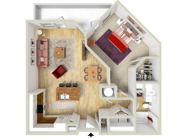1 Bedroom   Bottega Floor Plan   3D Rendering   Brand New Apartments!    Highway