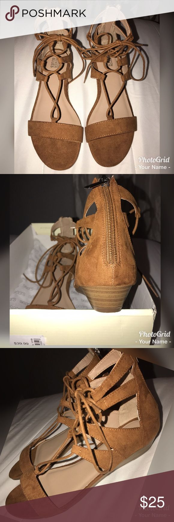 Suede whiskey shoes Beautiful comfortable shoes! Brand new never worn, this color goes good with anything you wear, tie up Style to make them stand out w/ a small heel that will have you feeling sexy in these ✨ Shoes Sandals