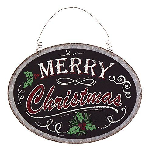 Decorate your home for the holidays with one of our appropriately festive chalkboard signs! Bold, chalkboard style signs have classic Christmas colors and symbols Signs have a galvanized metal border for a slightly industrial look, and glitter accents to add a touch of seasonal sparkle