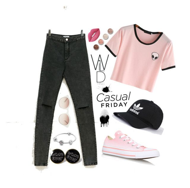 """Untitled #7"" by luc-ka on Polyvore featuring Bershka, Converse, self-portrait, Terre Mère, Lime Crime and Pandora"