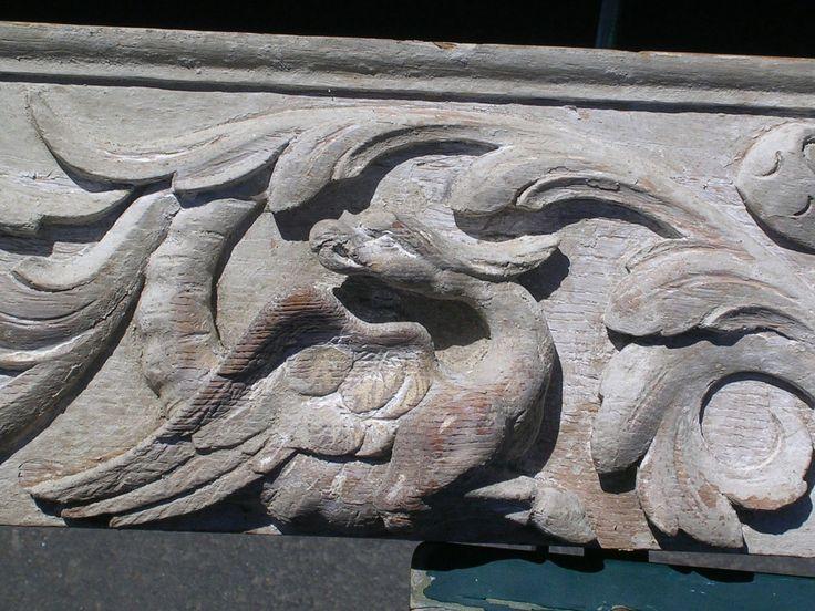 Vintage oak cornice hand carved eagles s quot
