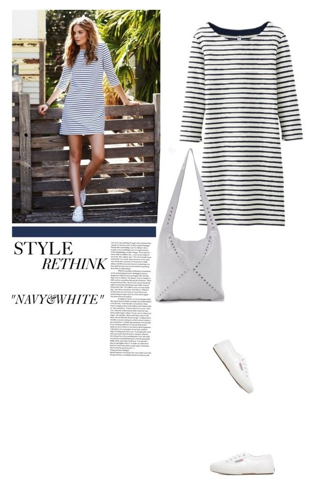 """""""Style Rethink Navy And White For Spring, With @KatherineKwei And The #Rachel #Hobo #Handbag."""" by fashionablychicny ❤ liked on Polyvore featuring Uniqlo and Superga"""