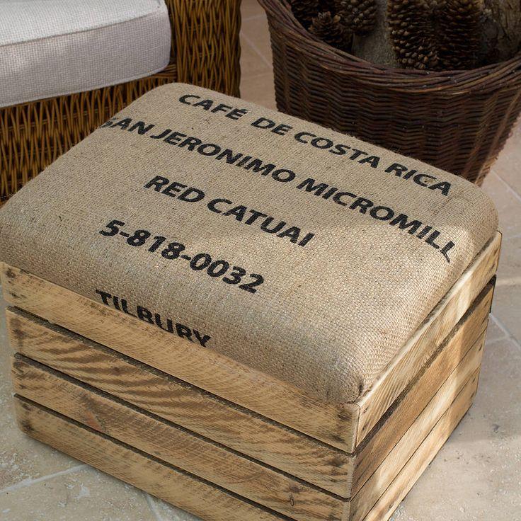 Coffee Sack Padded Footstool Storage Seat