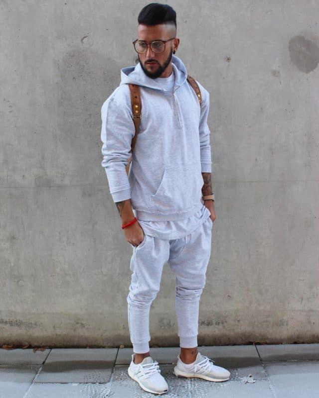 lazy school outfit idea for guys , monochrome , Grey