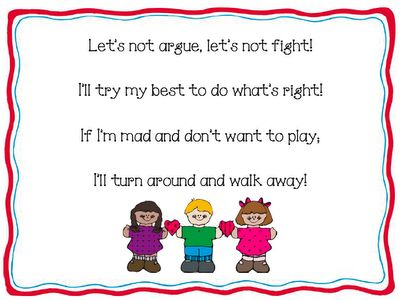 Chant for walking away instead of fighting with classmates