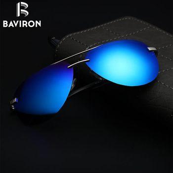 BAVIRON Tech Semi Sans Monture Aviateur lunettes de Soleil Argent Miroir Clair Visibilité de Verres Polarisés Hommes Cool Lunettes de Conduite 143