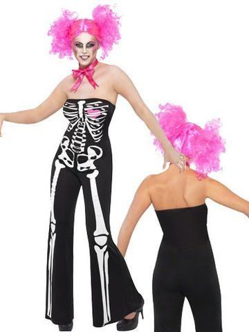 SM38685 Sassy Skeleton Fancy Dress Catsuit Smiffys Costume - Miss Hollywood