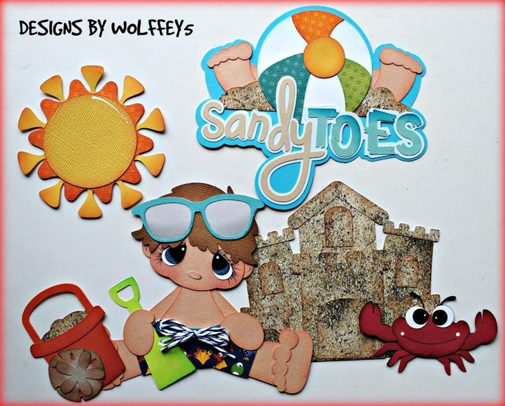 Elite4u boy beach paper pieced premade scrapbook page album die cut wolffey5