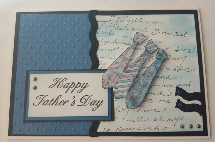 Happy Fathers Day card with stamped Ties