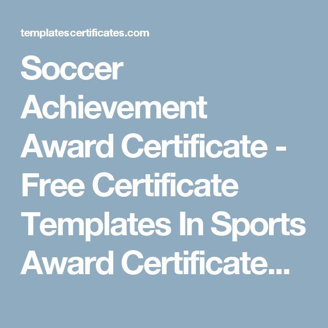 Soccer Achievement Award Certificate - Free Certificate Templates In Sports Award Certificates Category