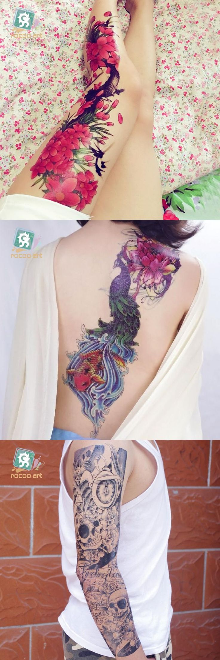 """[Visit to Buy] AC-002/Beauty Full Arm Extra Large Leg Temporary Tattoos Body Art Tattoo Stickers, Full Arm, Flower 6""""X 18"""" #Advertisement"""