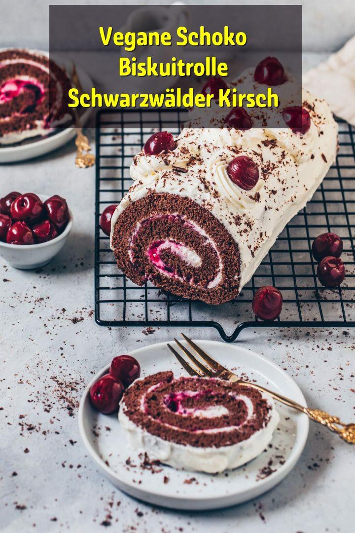 Vegane Schoko Biskuitrolle Schwarzwälder Kirsch – Frühstück