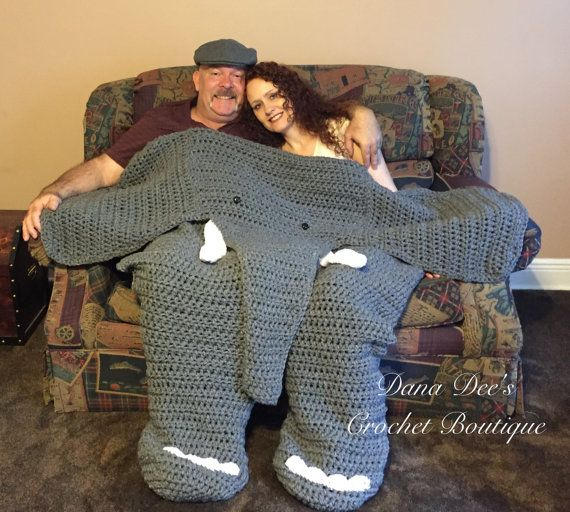 Bulky Elephant Blanket for Two PATTERN by DanaDeeCrochet on Etsy