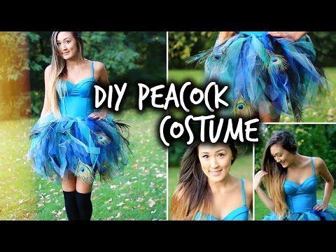 Easy DIY Peacock Halloween Costume   LaurDIY - YouTube