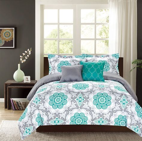 Crest Home Sunrise King Comforter 5 Pc. Bedding Set, Teal and Grey Medallion - Oversized and Overfilled