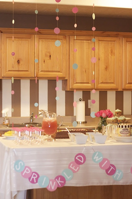 """Cupcake baby shower """"sprinkled with love"""" @Lindsay Dillon J like more these colors  very cute sprinkle. used the hanging dot idea for Julie's sprinkle  2013"""
