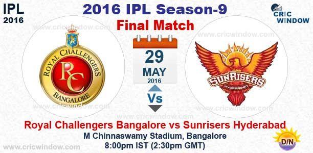 IPL Final  Bangalore vs Hyderabad Live Action M Chinnaswamy, Bangalore http://www.cricwindow.com/cricket-live-match-video.html http://www.cricwindow.com/cricket_live_scores.html