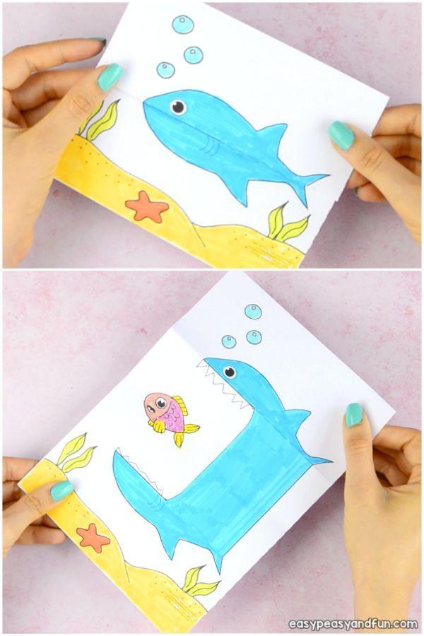 Feiern Sie die Hai-Woche, indem Sie dieses Surprise Big Mouth Shark Printable-Papierspielzeug …
