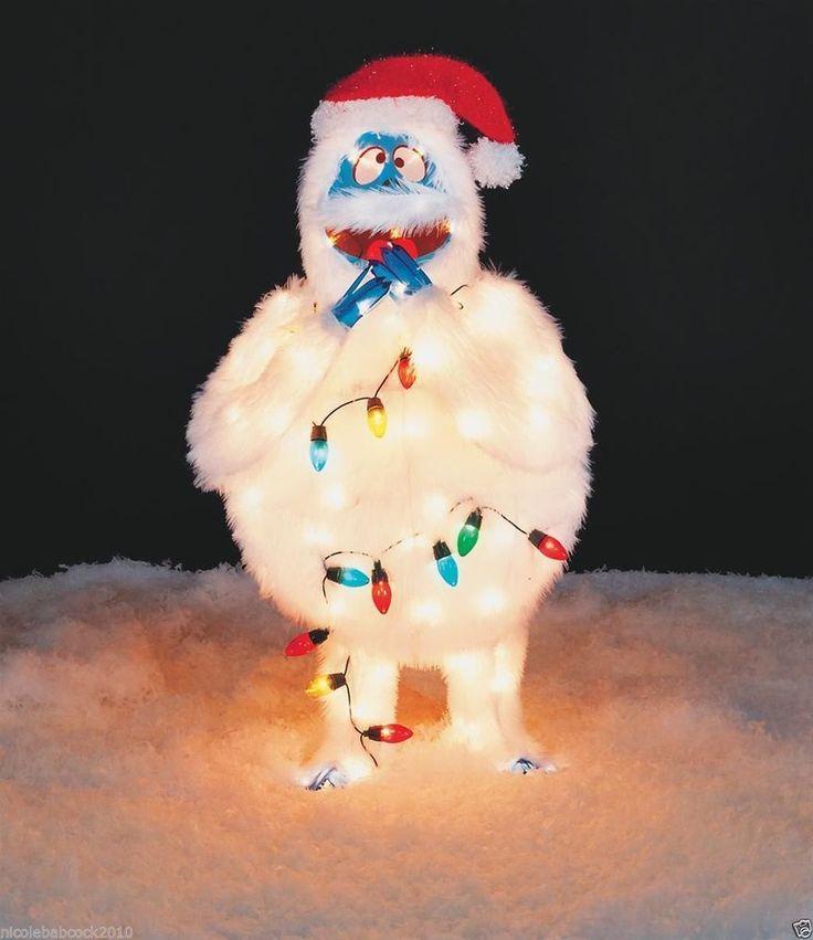 "$59.00=32"" CHRISTMAS LIGHTED BUMBLE RUDOLPH REINDEER TINSEL FABRIC PROP YARD DECORATION"