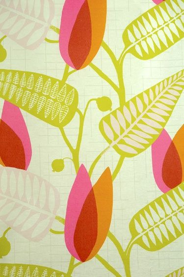 Spira inredning / pink, green and orange leafy fabric
