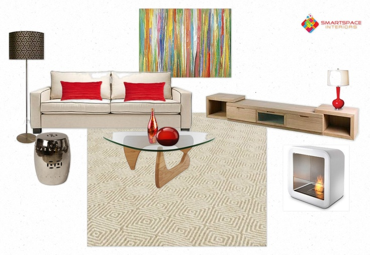 Contemporary mixed with mid-century modern. Accented with red.