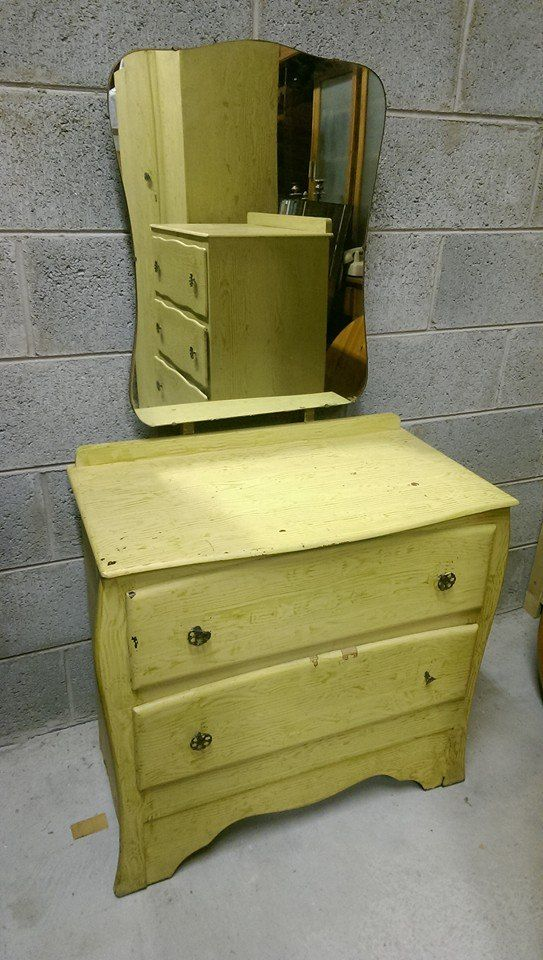 Vintage chest with bevelled original mirror . 75 Euros. Perfect for Upcycling