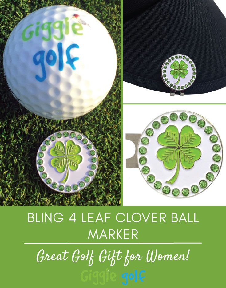 4 Leaf Clover bling golf ball marker with hat clip. Great golf gift for  women! Giggle Golf - Fun Golf Accessories for Women. a5e2aefe06de
