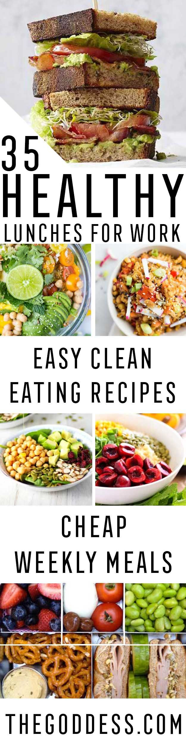 Healthy Lunches for Work - Easy, Quick and Cheap Clean Eating Recipes That You Can Take To Work - Weekly Meals That Are Great for Health Fitness and Weightloss - Low Fat Recipe Ideas and Simple Low Ca