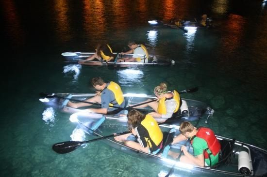 night kayak tour, see-through kayak with led lights!