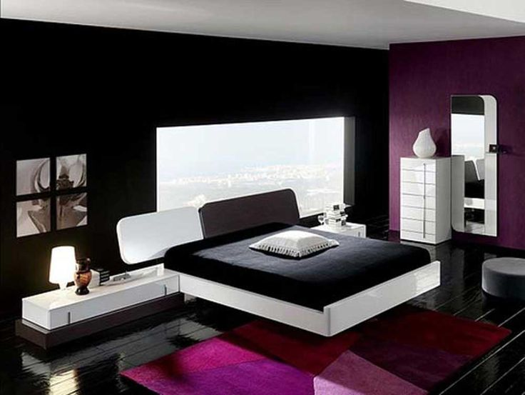 Interior Design Ideas for Bedroom with black and white color with purple carpet